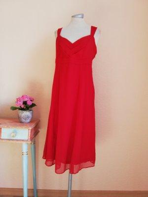 Chiffonkleid Midikleid rot Chiffon Kleid knielang Gr. 36 S neu Sommerkleid Trägerkleid
