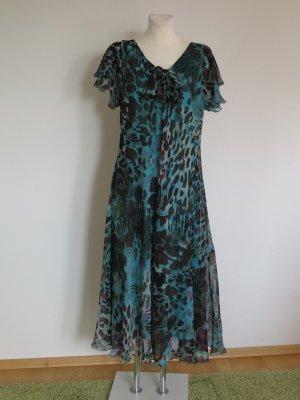 Szyfonowa sukienka morski-czarno-brązowy Poliester