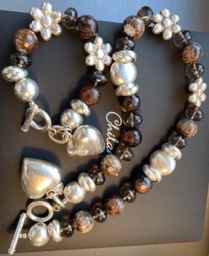 Chilango Necklace brown-silver-colored