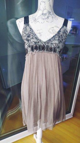 Chili Couture Kleid Chiffon grau taupe gr M  Neupreis 150€