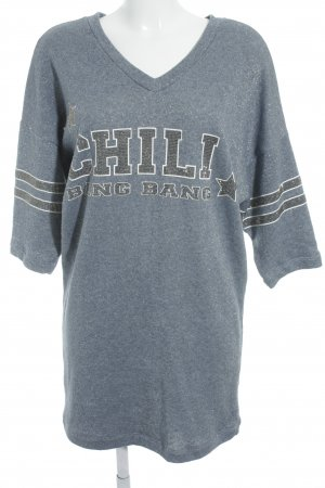 Chill Bang Bang Sweatshirt stahlblau-grau grafisches Muster Casual-Look