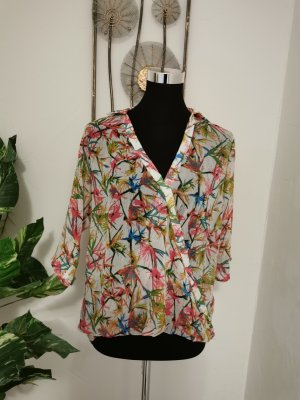 Chilli Blouse en crash blanc-rouge framboise