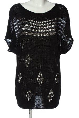 Chilli Short Sleeve Sweater black weave pattern elegant