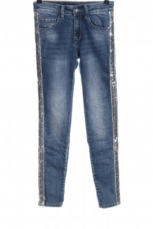 Chilli Skinny Jeans blau-silberfarben Streifenmuster Casual-Look