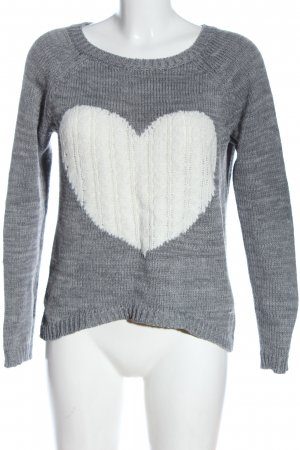 chillin Crewneck Sweater light grey flecked casual look