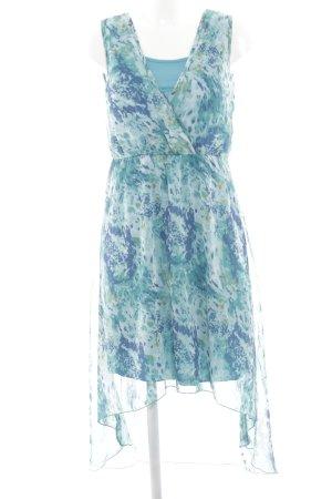 Chillytime Kurzarmkleid blau-türkis abstraktes Muster Casual-Look
