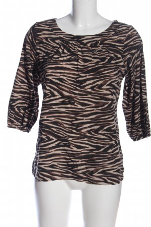 Chillytime Langarm-Bluse schwarz-wollweiß grafisches Muster Casual-Look