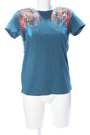Chillytime Print-Shirt blau-hellorange Motivdruck Casual-Look