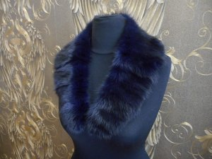 Sciarpa di lana blu-marrone scuro Pelliccia