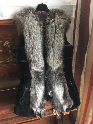 Fur vest black-light grey
