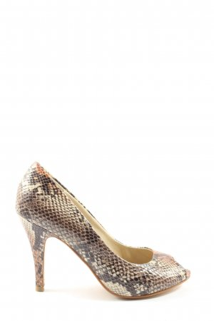 Chinese Laundry Peep Toe Pumps brown-natural white allover print