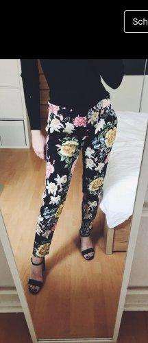 Atmosphere Pantalon chinos noir-rouge framboise