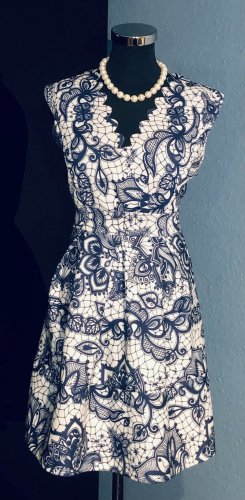 Vestido cut out blanco-azul