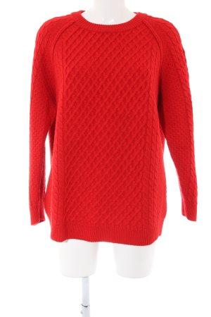 Chinti and parker Maglione di lana rosso punto treccia stile casual