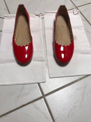 Chloé Ballerina di pelle verniciata rosso Pelle