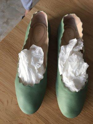 Chloé Ballerina spuntata verde chiaro Pelle