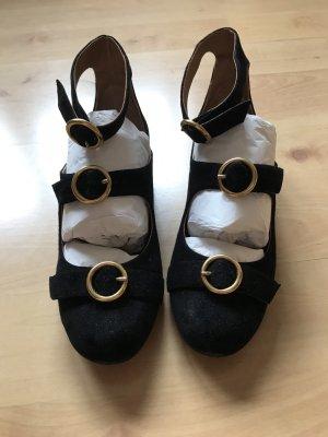 Chloé Ballerines à lacets noir-doré