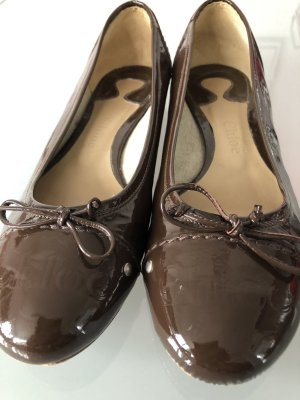 Chloé Patent Leather Ballerinas black brown leather