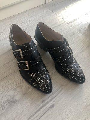 Chloé Botines negro-color plata