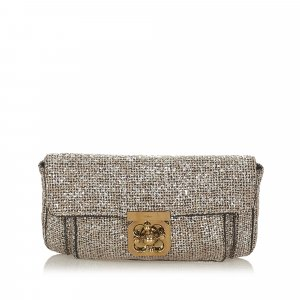 Chloé Clutch silver-colored wool