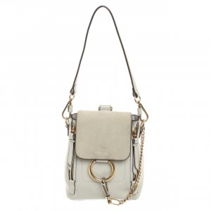 Chloé Faye Backpack Small aus Leder in Grau