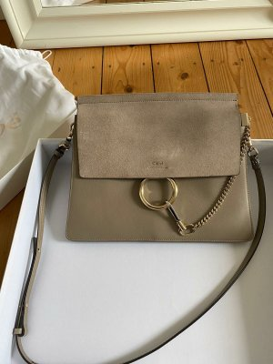 CHLOÉ Faye Shoulder Bag Leather Motto Grey