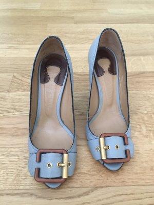 Chloé Tacones con punta abierta marrón claro-azul celeste