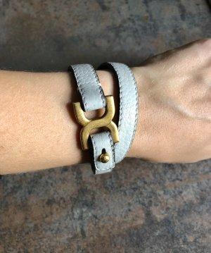 Chloé Leder Armband Grau Beige Gold Lederarmband