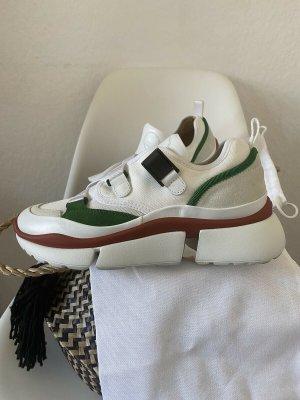 Chloé Low Top Sneakers Schuhe Suede Calfskin Mix Jungle Green 1x getragen Gr. 37