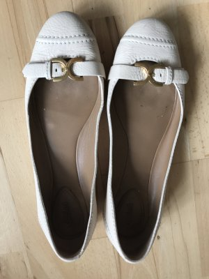 Chloé Mary Jane Ballerinas oatmeal-pale yellow leather