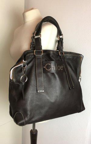 Chloé Shopper dark brown-silver-colored leather
