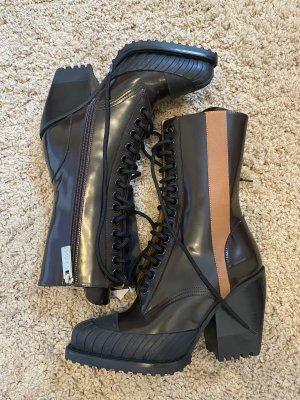 Chloe Rylee Leder Stiefel Stiefeletten boots braun blogger