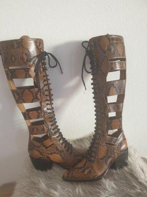 miss chloe Bottes à lacets gris brun