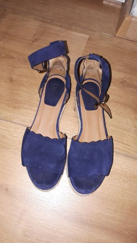Chloé Sandały na grubym obcasie jasnobeżowy-ciemnoniebieski