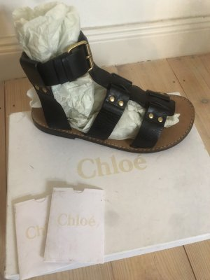 Chloé Roman Sandals black-gold-colored leather