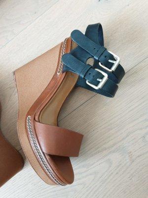 Chloé Escarpin compensé noir-bronze tissu mixte