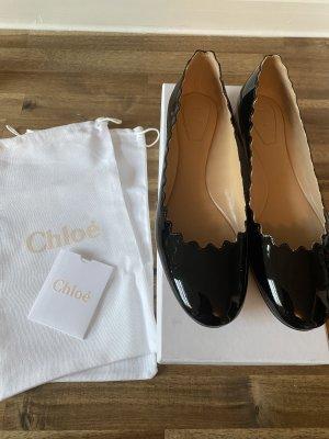 Chloé Ballerina di pelle verniciata nero