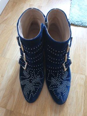 Chloé Botas de tobillo azul oscuro Terciopelo