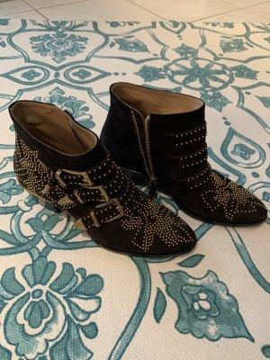 Chloé Botas de tobillo negro-color oro