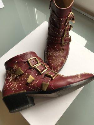 Chloé Low boot bordeau-doré cuir