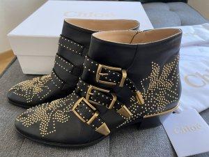 Chloé Botki czarny-złoto