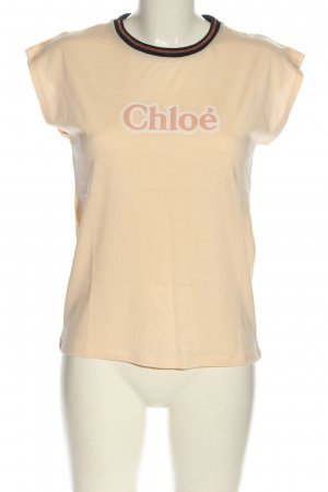 Chloé T-shirt nude gedrukte letters casual uitstraling