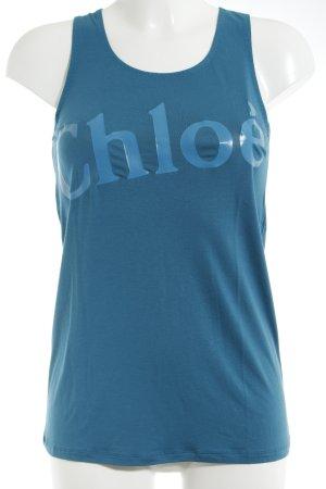 Chloé Tanktop kadettblau Schriftzug gedruckt sportlicher Stil