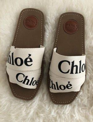 Chloé Woody Sandale weiß