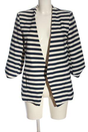 Choies Blazer corto blu-bianco sporco motivo a righe stile professionale