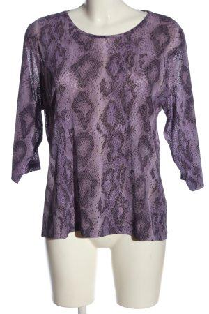 Choise by Danwear Transparentna bluzka fiolet-czarny Abstrakcyjny wzór