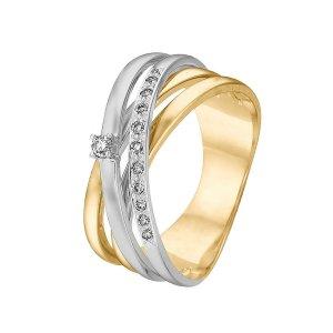 CHRIST-Bicolor-Ring (Weißgold-Gelbgold) mit Diamanten