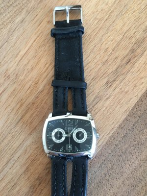 Christ Watch With Leather Strap black-silver-colored
