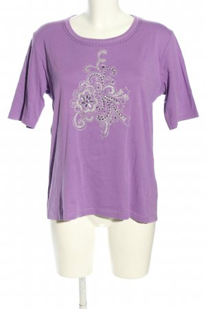 Christa Probst Knitted Jumper lilac-silver-colored themed print casual look