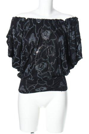 Christian Audigier Oversized shirt zwart-lichtgrijs abstract patroon